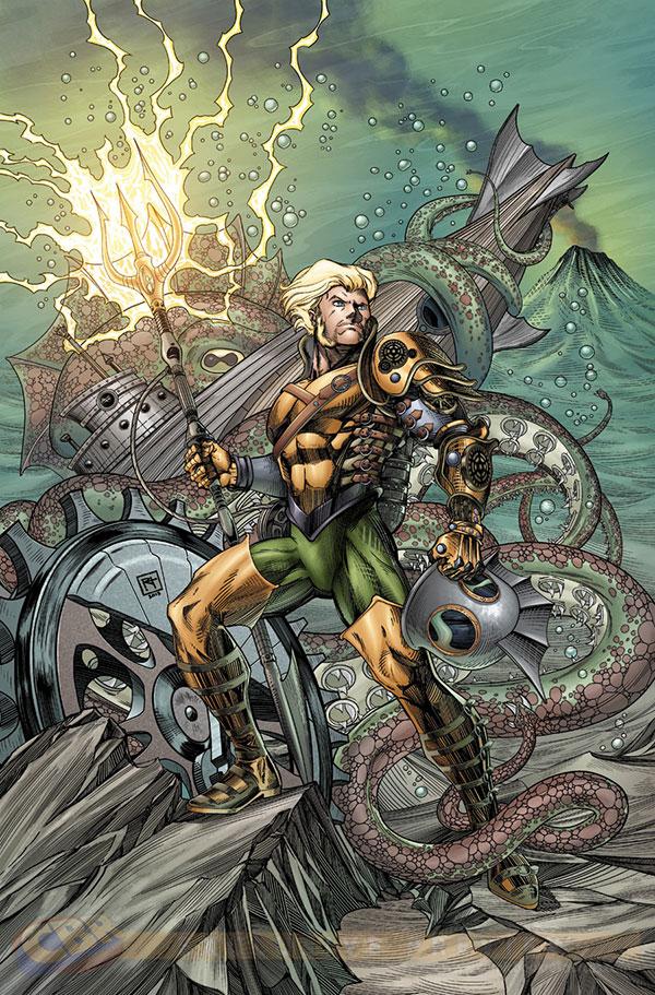 Aquaman next to a kraken