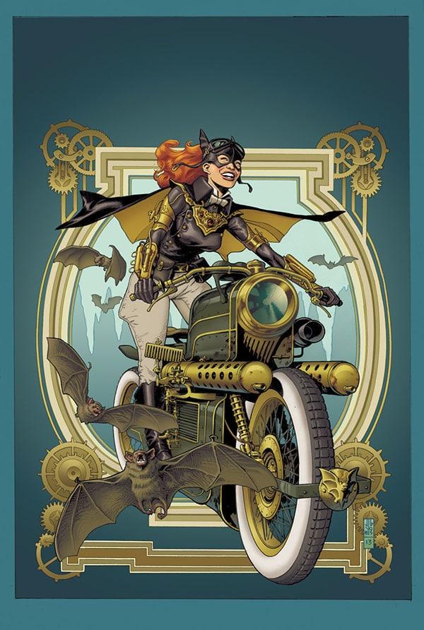 Batgirl riding a steampunk motorbike