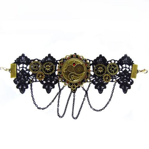 Bracelet steampunk avec cristaux swarovski