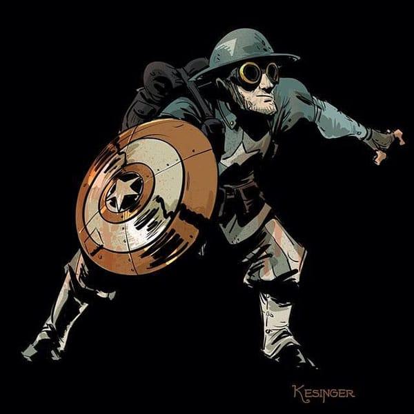 Captain America in a steampunk uniform