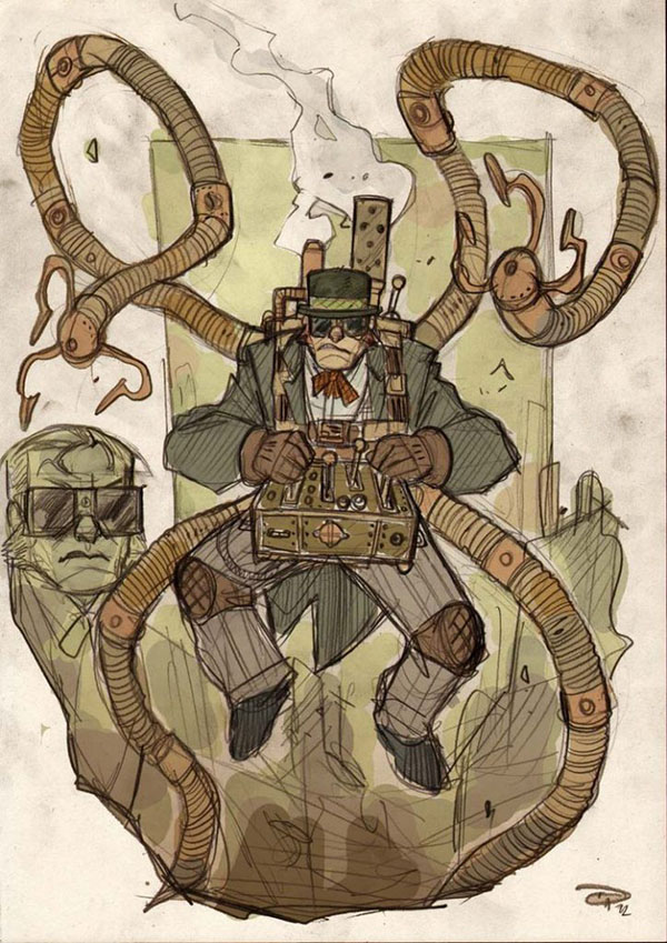 Doctor Octopus reimagined steampunk-style