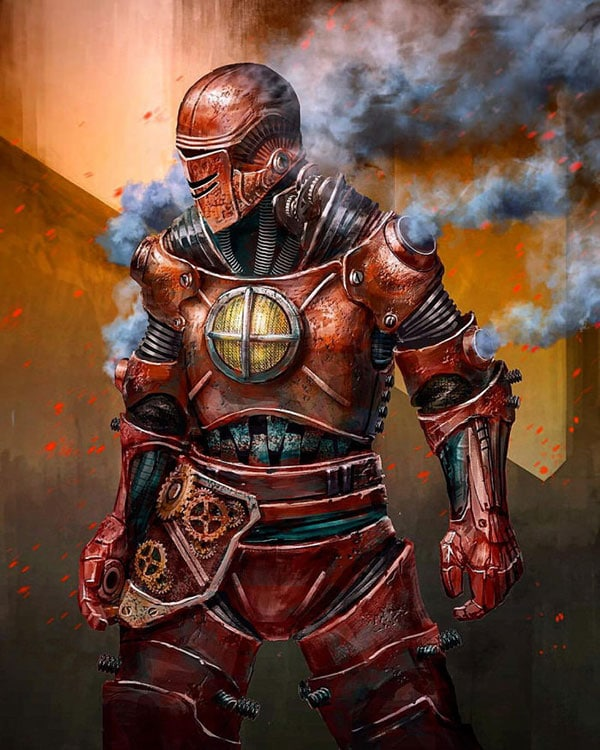 Iron Man in a steampunk armor