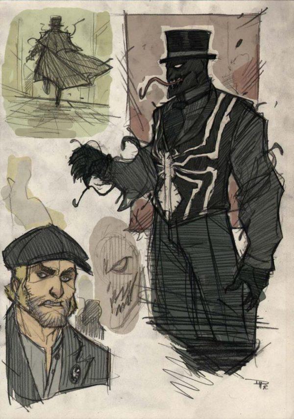 Venom and Eddie Brock victorian-style