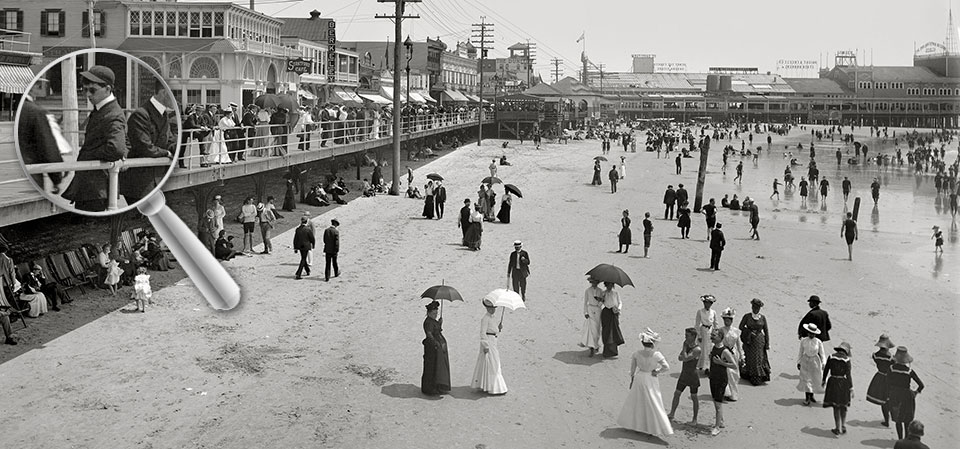 Une plage d'Atlantic City en 1906