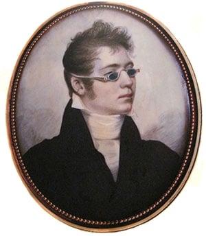 Portrait d'un gentleman portant des lunettes Railway à 4 verres bleus en 1807