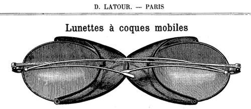 Illustration d'un modèle de lunettes à coques amovibles du 19e siècle