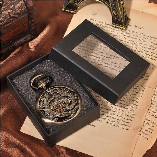 Montre gousset Dragon et Fenghuang dans sa boîte