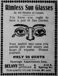 First advertisement for sunglasses