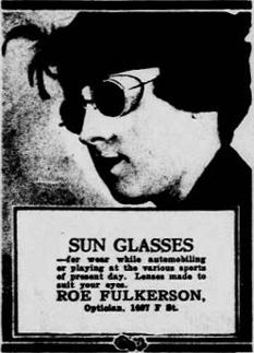 Publicité pour des lunettes de soleil avec coques datant de 1917