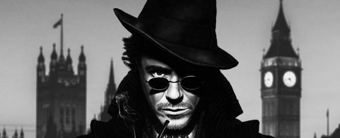 Sherlock Holmes avec des lunettes de soleil steampunk