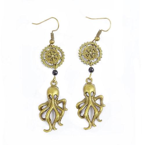 boucles oreilles steampunk avec rouages et octopus
