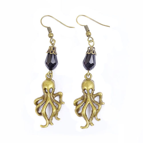 boucles d'oreilles octopus steampunk