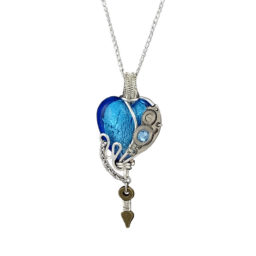 Collier coeur Mechanica Aquamarine