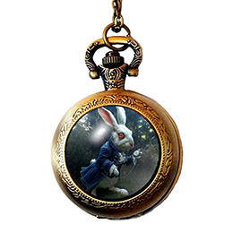 Alice in Wonderland Inspired Pocket Watch Necklace Pendant