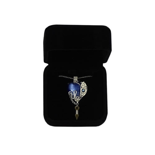 Bijou coeur bleu collier tendance