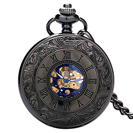 Double Opening Black Pocket Watch