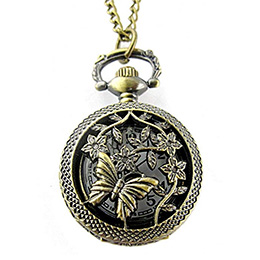 Retro Butterfly Take Honey Pattern Carved Hollow Small Pocket Watch
