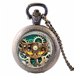 Steampunk Necklace Cat Pocket Watch
