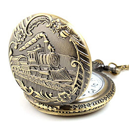 Steampunk Train Quartz Pocket Watch