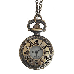 Women's Brass Vintage Style Roman Numerical Pocket Watch Chain Pendant Necklace
