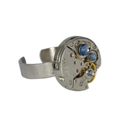 Bague steampunk Trinity denim blue