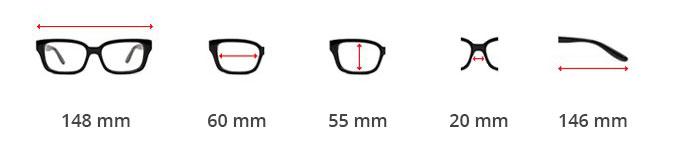 Dimensions des lunettes Aviator