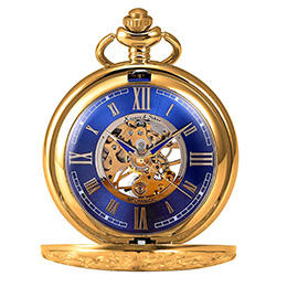 Gold pocket watch with blue dial