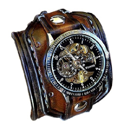 Handmade Aged Brown Leather Cuff With Skeleton Watch