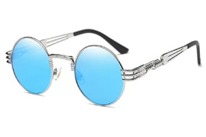 Designer sunglasses with retro-style metal frame