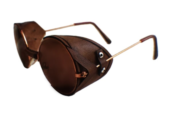 Non-polarized vintage sunglasses with hand embossed leather