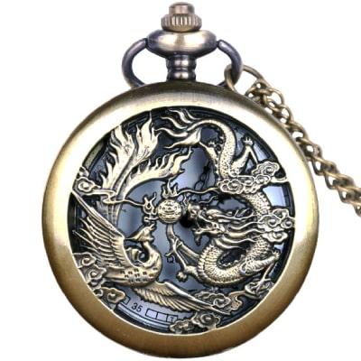 Montre gousset homme dragon fenghuang
