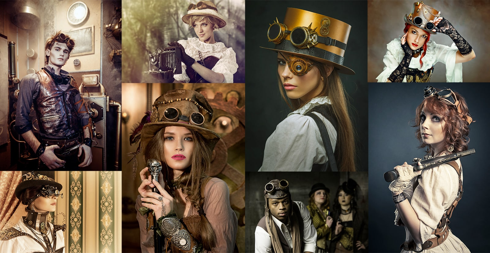 Steampunk costumes with goggles