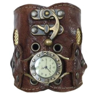 Steampunk craftmanship - Brown leather bracelet watch