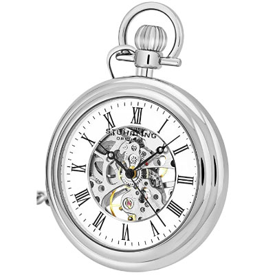 Stuhrling silver tone vintage pocket watch